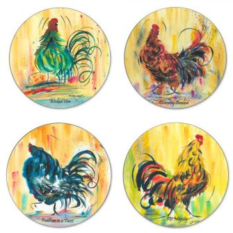 Claire Weeks Chicken Coasters, pack of 4