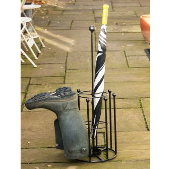 Umbrella and 4 Pair Welly Boot Stand