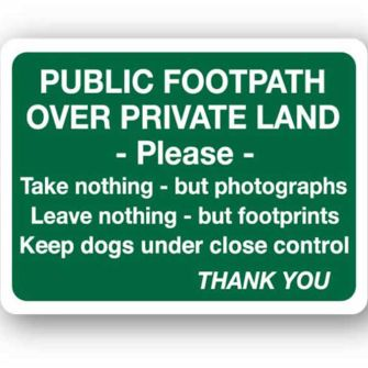 Public footpath over private land ...