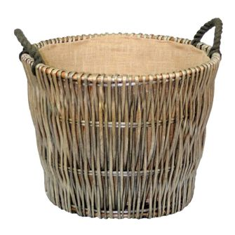 Round Hurdle Willow Hessian Lined Log Basket