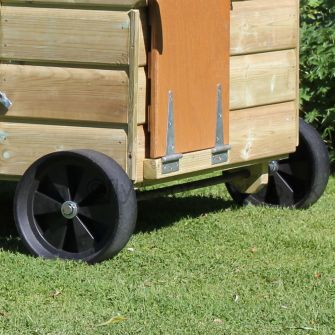 Wheels on axle for Hen Houses