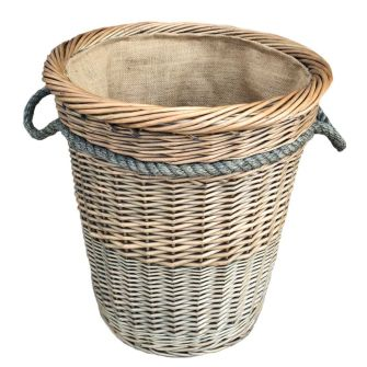 Tall Round Deluxe Lined Willow Log Basket