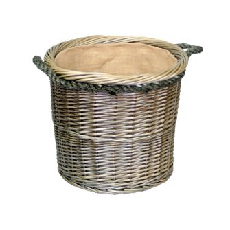 Medium Round Deluxe Lined Willow Log Basket