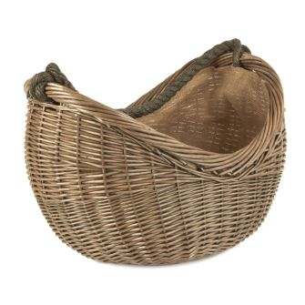 Scooped Willow Lined Carrying Basket with Rope Handle