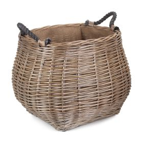 Curve-sided Lined Willow Log Basket