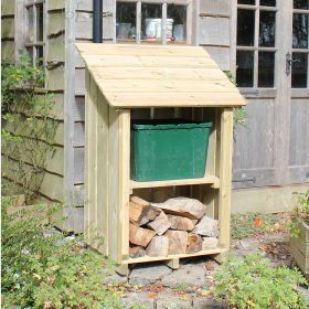 Little Okeford Garden Store with log shelf and recycling box shelf
