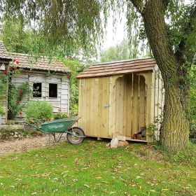 Okeford Garden & Log Store with Cedar Shingle Roof - 6ft wide