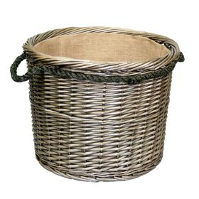 Large Round Deluxe Lined Willow Log Basket